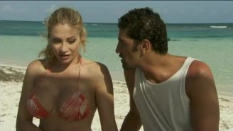 image Hot blonde tourist banged by two fishermen on t…